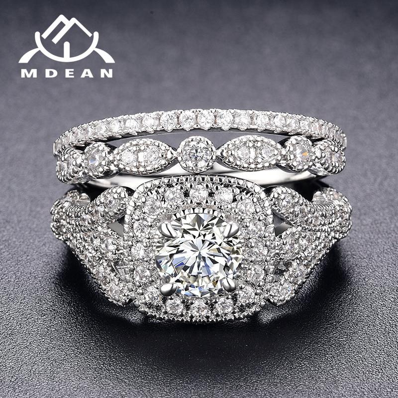 MDEAN Weiß Gold Farbe Engagement Ringe Sets für Frauen Hochzeit Klar AAA Zirkon Mode Schmuck Bague Bijoux Größe 6 7 8 9 H063