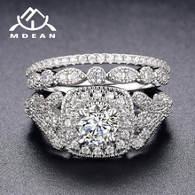 MDEAN White Gold Color Engagement Rings Sets for Women Wedding Clear AAA Zircon Fashion Jewelry Bague Bijoux Size 6 7 8 9 H063 mdean rose gold color ring purple stone aaa zircon jewelry for women engagement wedding fashion wholesale size 5 6 7 8 9 h083