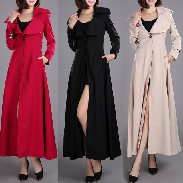 c1f6474c338 Spring Autumn Brand Casual women Long Trench coat for women Plus Size  Windbreaker Outerwear Coats big swing