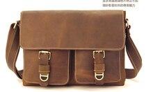 2015 Fashion crazy horse leather laptop bag leisure men business bag luxury leather messenger bag