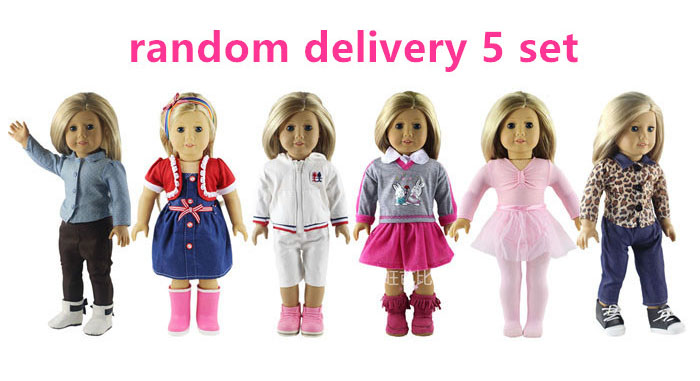 5 Set Doll Clothes for 18 Inch American Girl Doll Handmade Princess Costumes Dress Outfit handmade multicolor printing princess dress doll clothes for 18 inch dolls american girl doll clothes accessories 15 colors b 21