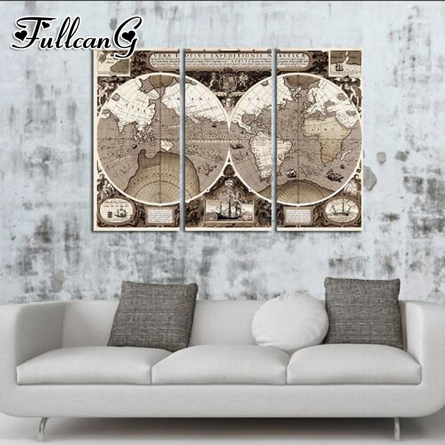 FULLCANG 3pcs diy diamond embroidery map triptych canvas painting full square/round drill 5d mosaic pattern FC894