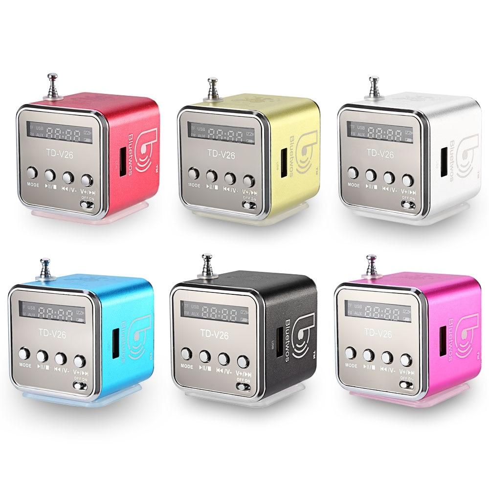 Unique Wheel Pattern Design TD-V26 Mini Digital LCD Sound Speaker Micro SD TF FM Radio Music Stereo for Laptop Mobile Phone MP3