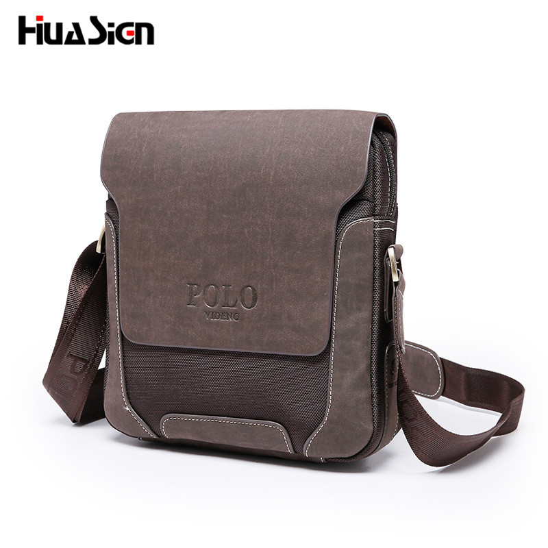High Quality VIDENG POLO Vintage Casual Patchwork Durable Oxford Man Bag With Leather Cover Fashion crossbody