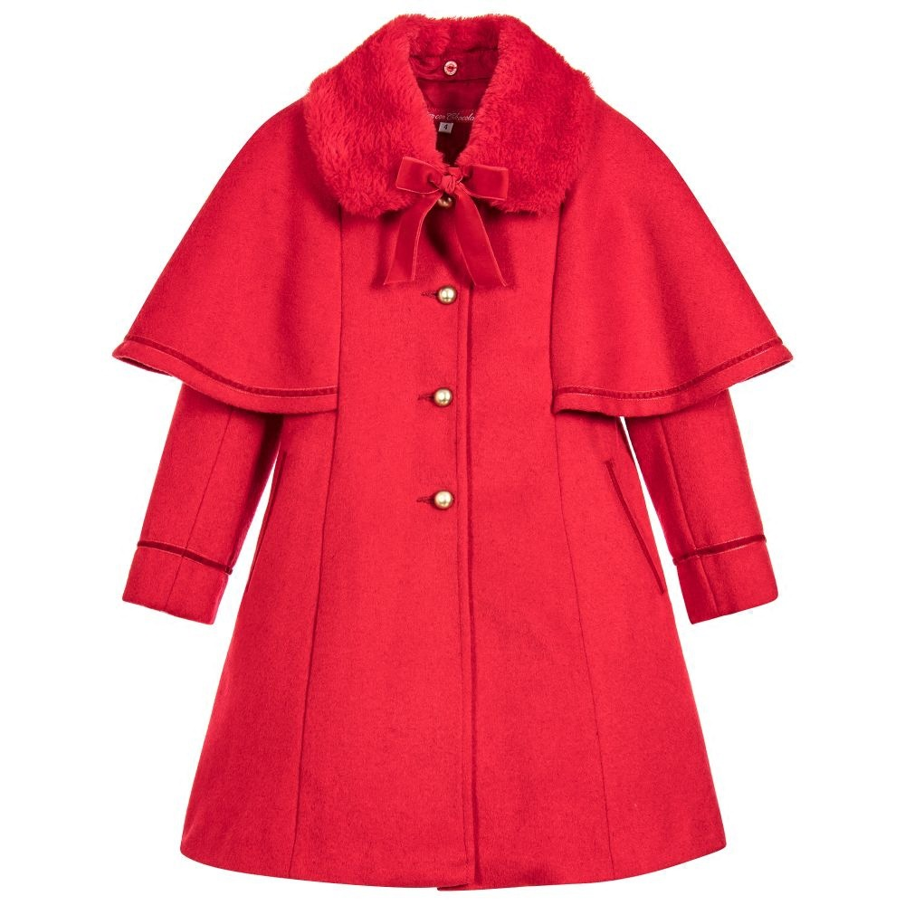 Fur Collar Woolen Girls Long Jacket Christmas Red Fall Winter Kids Warm Coat Children's Clothes ein fall fur tessa