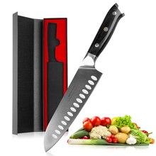 Ножи Mokithand, 7 дюймов, Santoku, высокоуглеродистые, Германия, 1,4116 сталь, профессиональный, японский, острый, поварской, кухонный нож с Pakka Wood