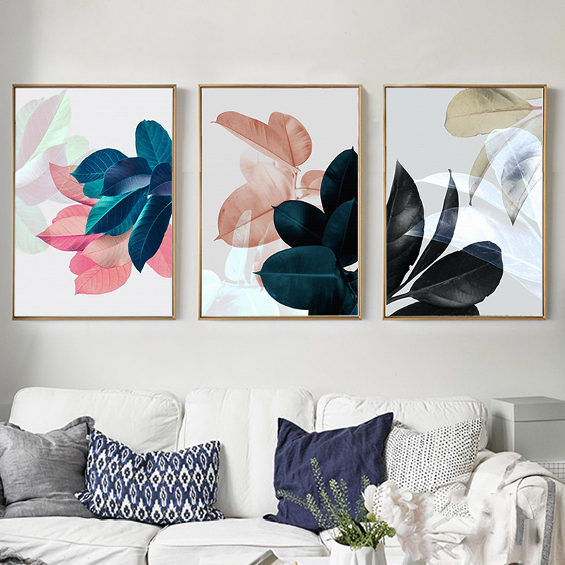 Abstract Plants Colorful Leaves Wall Art Canvas Painting Picture Nordic Poster Wall Pictures For Living Room Cuadros Unframed 1