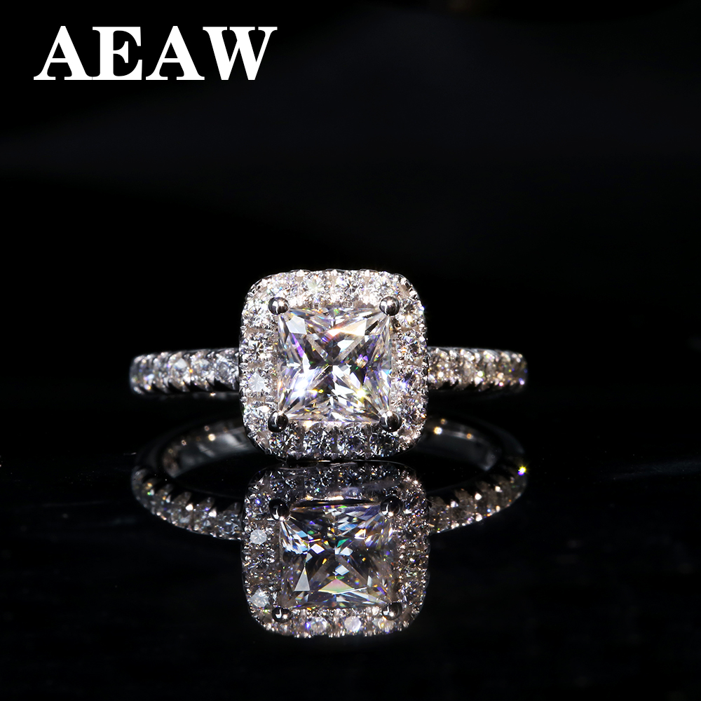5mm 1ctw Carat Elegant DEF Color Princess Halo Engagement Wedding Moissanite Diamond Ring For Women In Silver Or White Gold