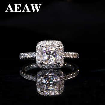 5mm 1ctw Karat Elegante DEF Farbe Prinzessin Halo Engagement Hochzeit Moissanite Diamant Ring Für Frauen in silber oder weiß gold