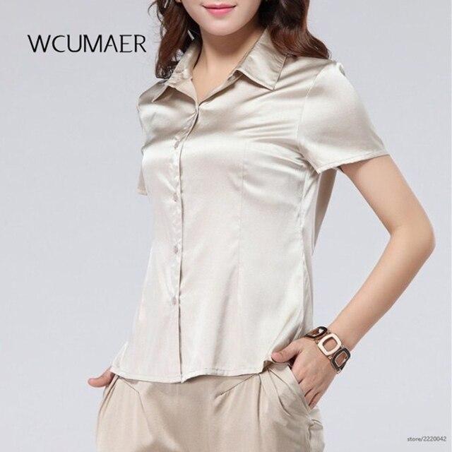9013379f41 O básico trecho pesado cetim de seda Camisa de seda blusa de seda branca de  Manga
