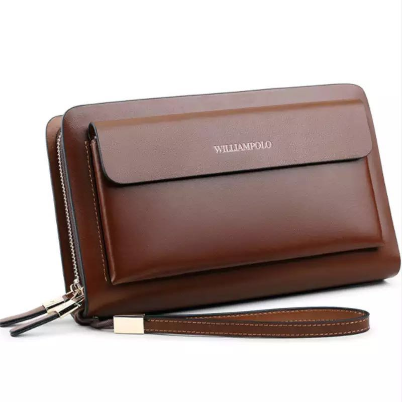 Business Mens Brand Clutch Bags WILLIAMPOLO Real Leather Phone Credit Card Organizer Large Wallet 2019 Fashion