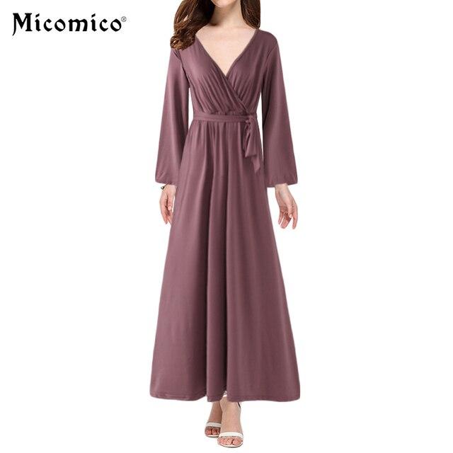 Women Loose Maxi Dress Long Sleeve Soft Night Dress Fashion Sexy Casual V- neck Party Dress Self-Tie Bowtie Plus Size 3XL Black 03d547abf