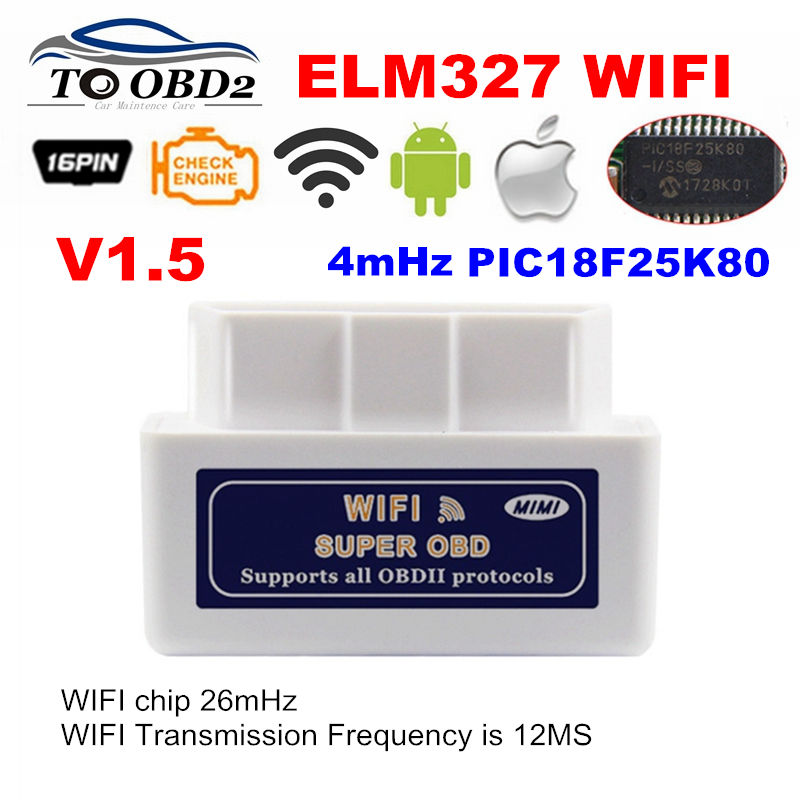 Real PIC18F25K80 Chip Super OBD2 ELM327 WIFI V1.5 Hardware Works Android/iOS ELM 327 Works Diesel Cars 12V No Burn Any More
