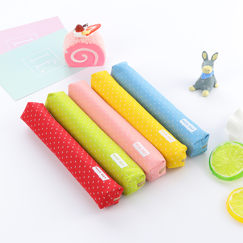 Korean Creative Color wave Slender point School Pencil Case Cute Pen Bag Kawaii Stationery Pouch Office School Supplies Zakka Пенал