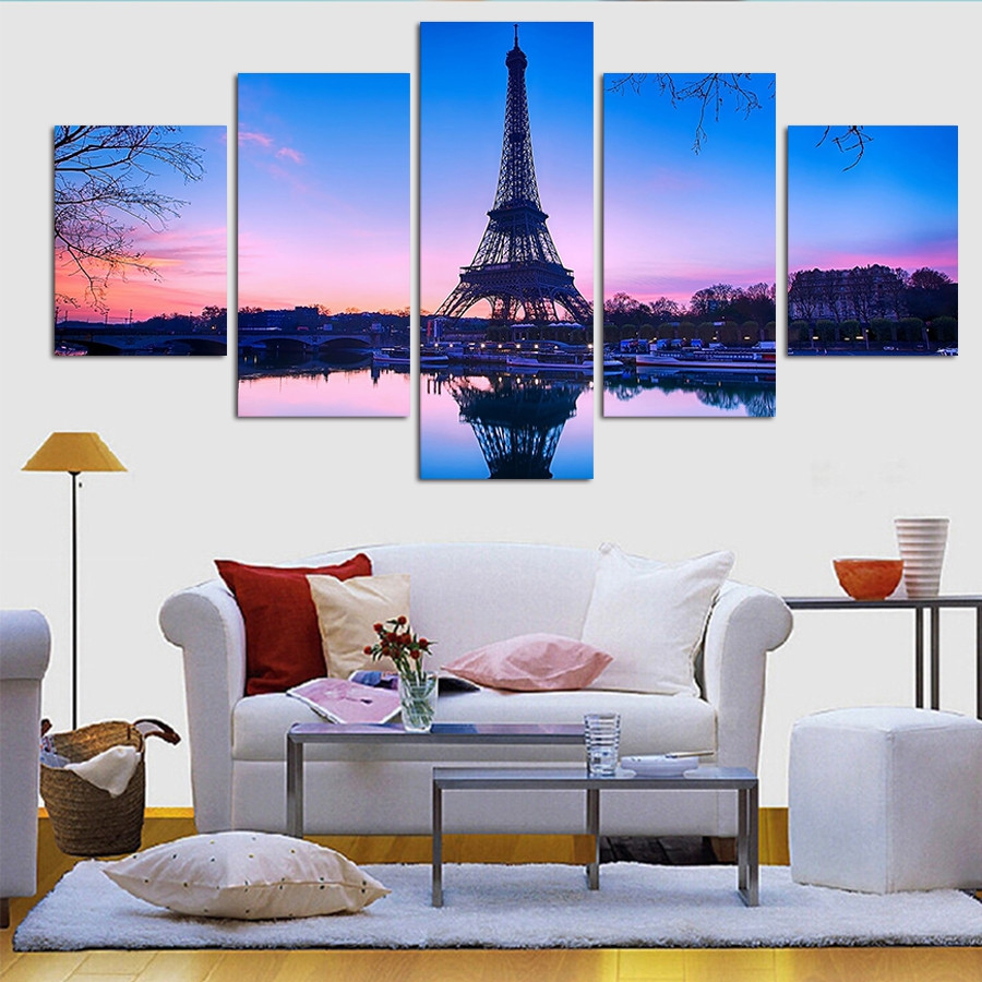 framed art paris promotionshop for promotional framed art paris  - modern home canvas wall art decor framed pictures hd printed  pieces pariseiffel tower poster sunset landscape painting pengda