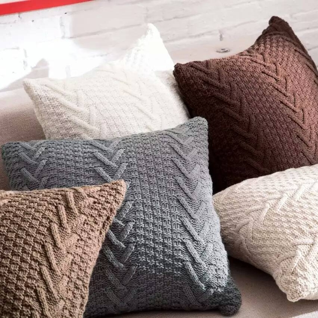 Fish Bone Cotton Knitted Decorative Pillow Cover Cable Knitting