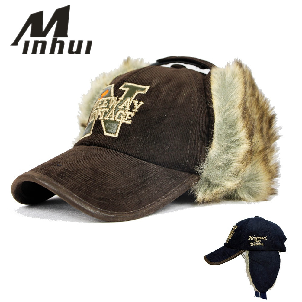 Minhui 2015 New Ear Rabbit Fur Warmers Winter Baseball Caps Female Unisex Winter Hat Visor Bone Gorras Planas Mens Hats brand winter hat knitted hats men women scarf caps mask gorras bonnet warm winter beanies for men skullies beanies hat