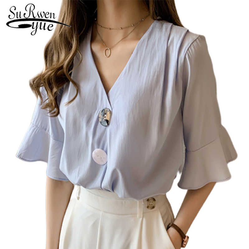 4XLplus size blusas mujer de moda 2019 blouses woman ladies tops dames blouse zomer Flare Sleeve womens blouses and tops 5012 50