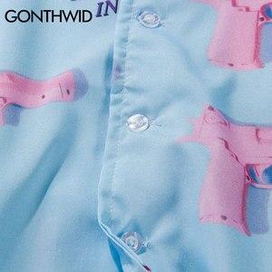 Image 5 - GONTHWID אקדח אקדח הדפסת אלוהה הוואי חוף חולצות 2020 Mens קיץ מזדמן קצר שרוול Streetwear הוואי חולצה אופנה חולצות