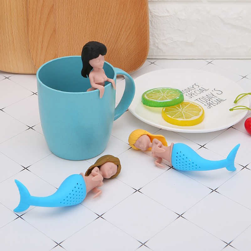 1PC Mermaid Tea Infuser Sexy Silicone Reusable Strainer Filter High Quality Teapot Infuser Teaspoon Tea Leaf Herbal Tool HB