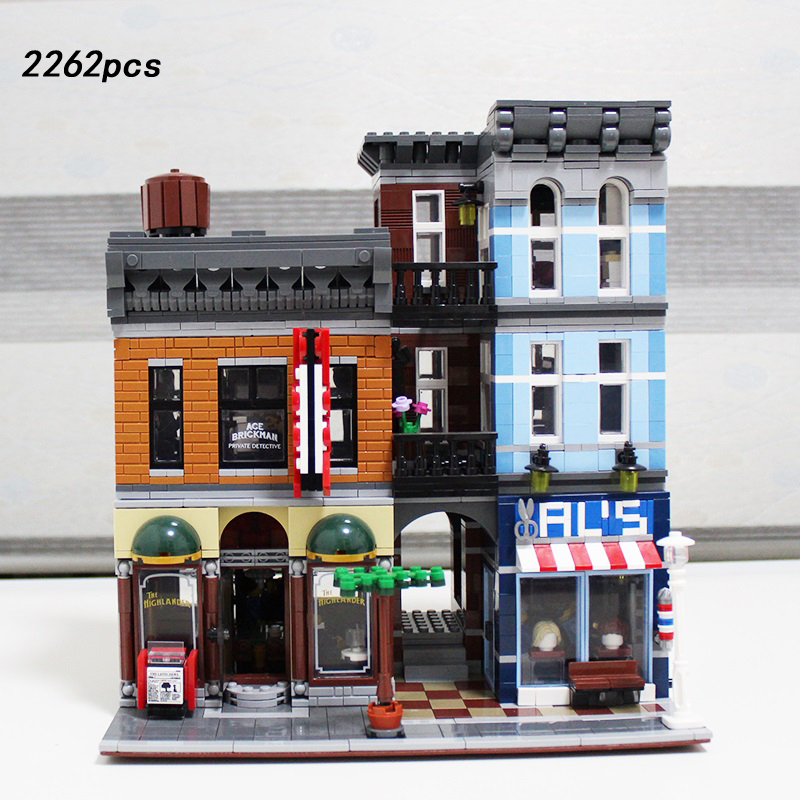 Hor creators city street view detective office building block figures Barber Shop model bricks 10246 toys FOR adult kids gifts city street view scene city hall building block mini mayor assistant reporter figures vintage car bricks enlighten toys for kids