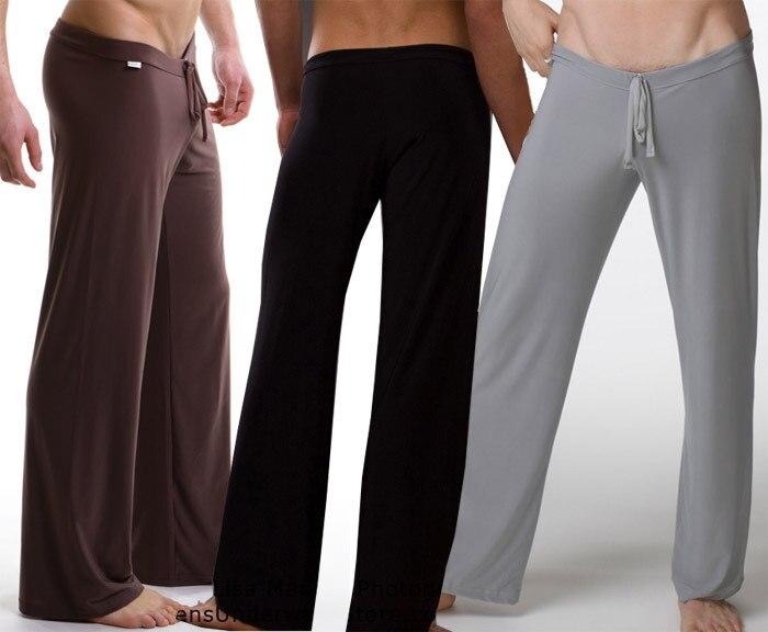 NEW Men Sexy Silky Lounge Loose-fitting Baggy Sporting Pants Pyjamas Men Pajamas Sleepwear Trousers Black/Gray/Black/White