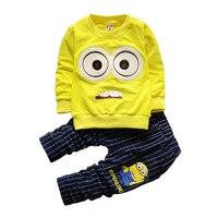 Bébé Garçons Filles Minions Bande Dessinée Coton Set Enfants Vêtements Définit Hiver Enfants Vêtements Enfant T-Shirt + Pantalon Costume YAOYAO OURS Marque