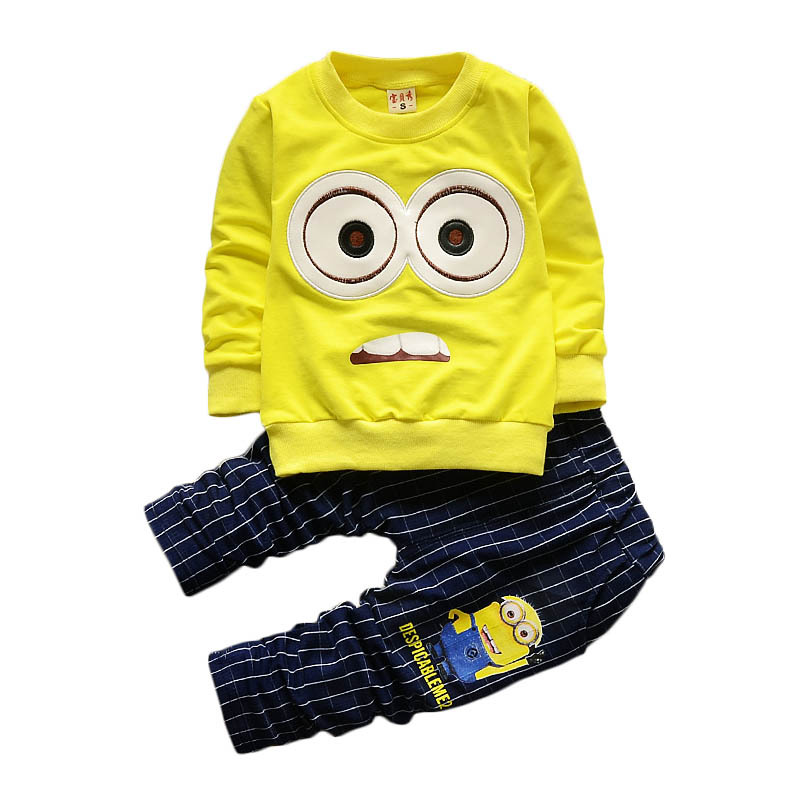 Baby Boys Girls Minions Cartoon Cotton Set Kids Clothing Sets Winter Children Clothes Child T-Shirt+Pants Suit YAOYAO BEAR Brand malayu baby kids clothing sets baby boys girls cartoon elephant cotton set autumn children clothes child t shirt pants suit
