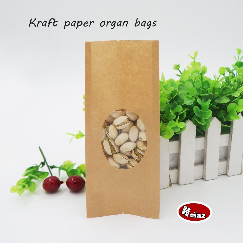 11630 Cm 14 Sutra Kertas Kraft Tas Organ Transparan Jendela Bungkus Makan Penyimpanan Makanan Kemasan Biji Kopi Teh