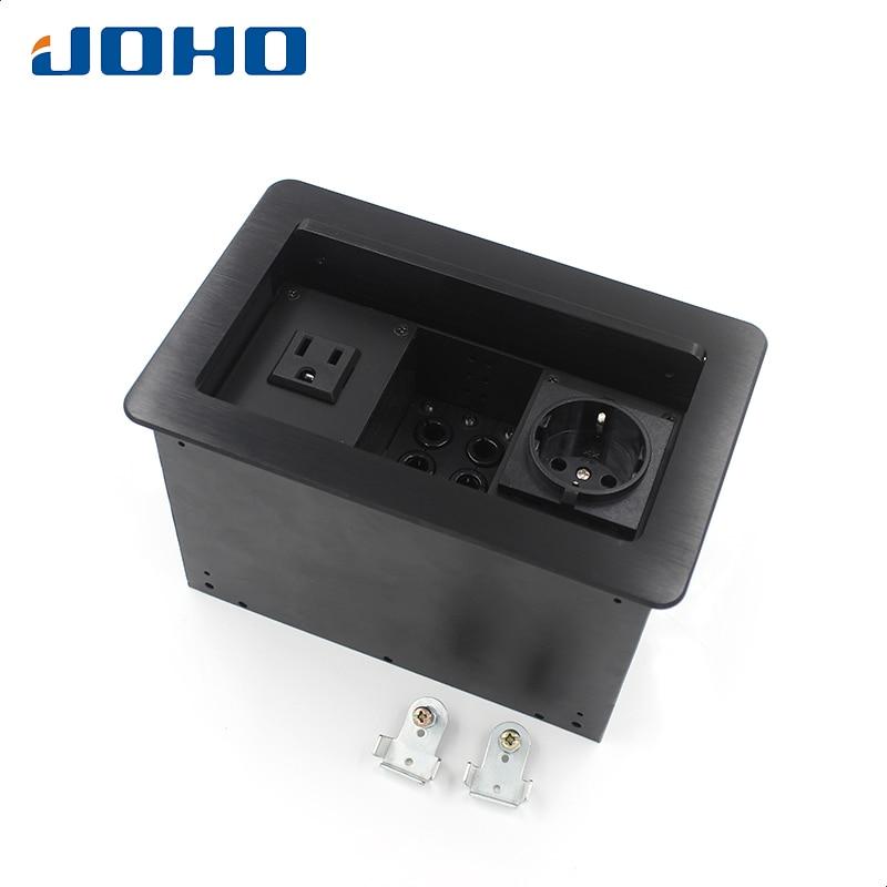 цена на JOHO 16A Power Socket Electrical Outlet Aluminum Black Silver Panel Desktop Table Socket Lift Cover Open Type Tabletop Socket