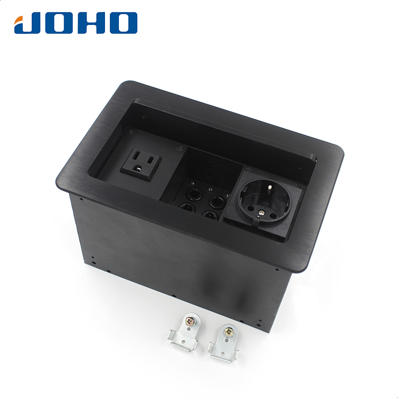 JOHO Desktop Socket 16A Power Socket Electrical Outlet Aluminum Black Silver Panel Table Socket Lift Cover Open Type Socket