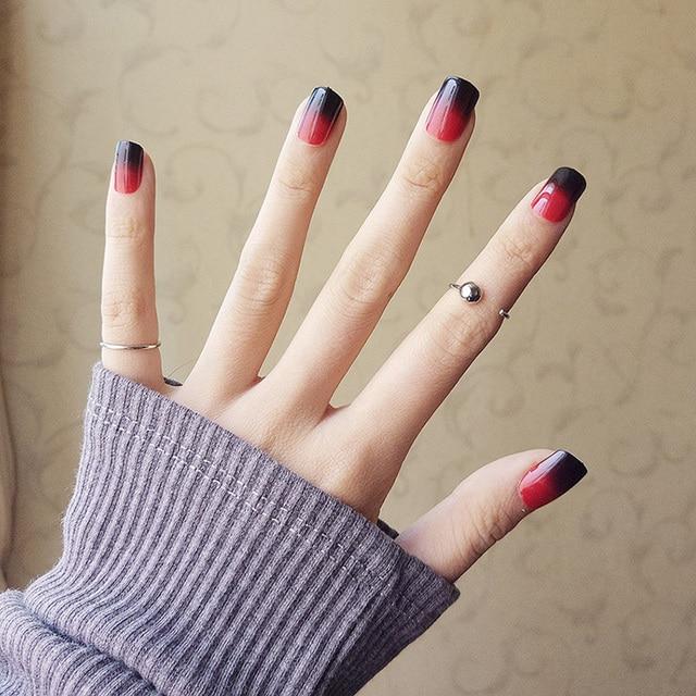 24pcs black+red Gradient color short nail art tip resin Nail Art ...