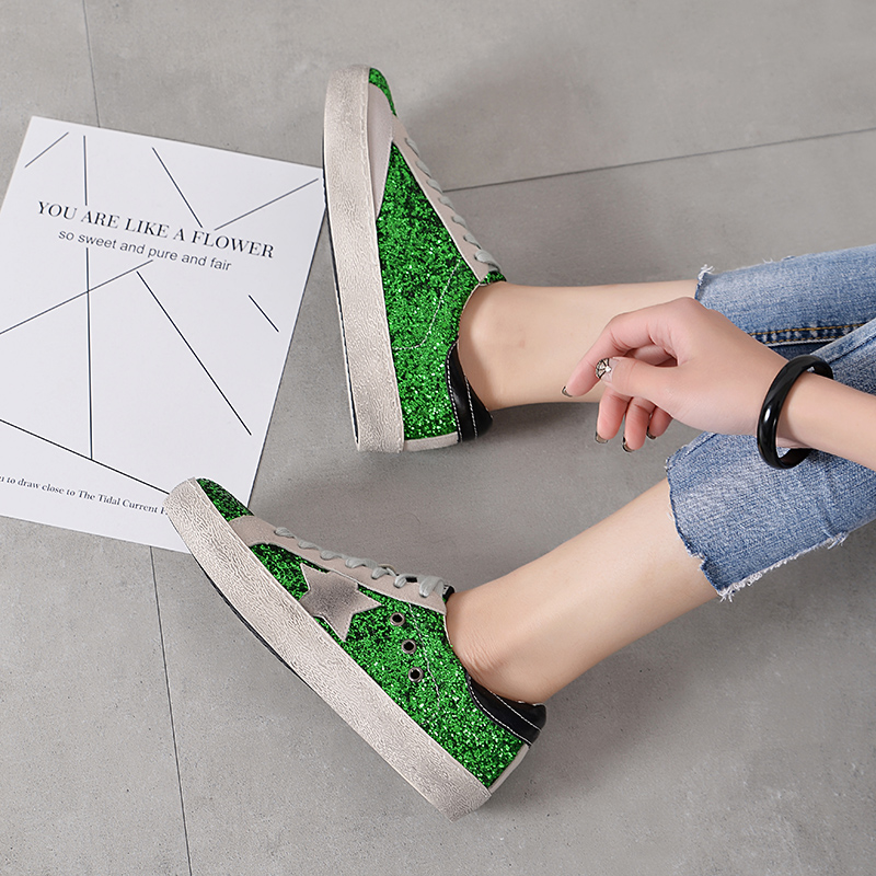Femmes forme Pour Gnome Vintage Plate Femme Sneakers Bling Paillettes Chaussures Dames Appartements Glitter Rétro silver Designer Black Casual green ntcqqBr0Z