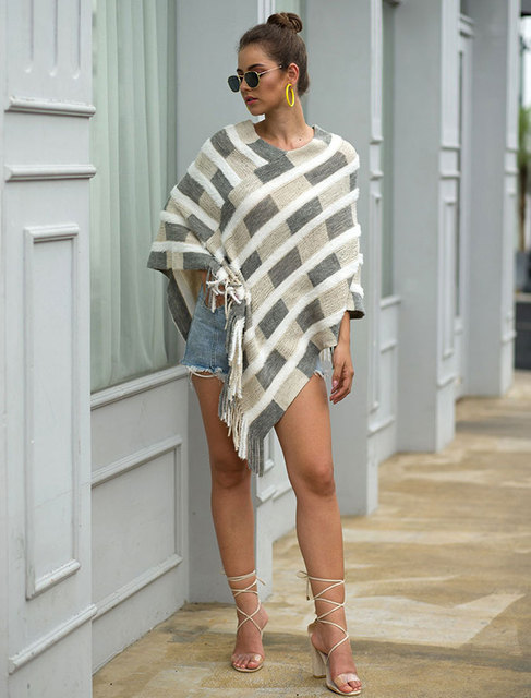 HEE GRAND Women Plaid Sweaters Autumn 2019 New Tassels Cloaks Sexy V-neck Pullovers High Street Capes Drop Shipping WZL1505 6