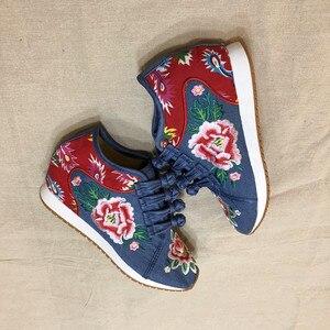 Image 2 - Veowalk Nieuwe Lente Vrouwen Bloem Geborduurd Platte Platform Schoenen Chinese Dames Casual Comfort Denim Stof Sneakers Schoenen