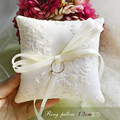 Обручальное кольцо подушки бежевый кружева высокого класса кольцо подушки для свадьбы бантом украшения кольцо подушки для свадьбы 16 см * 16 см