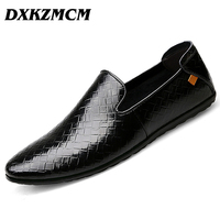 DXKZMCM Man Moccasin Breathable Men S Loafers Designer Flat Soft Leather Shoe Fashion Men S Casual