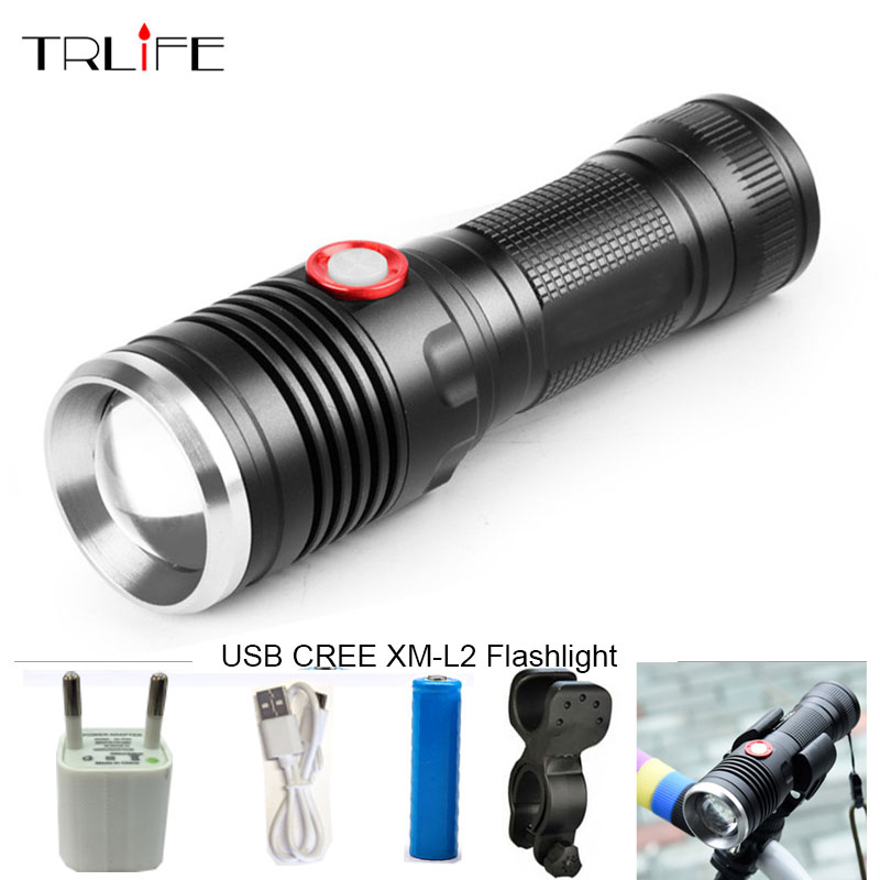 8000LM USB LED Tactical Flashlight CREE XM-L2 Flashlight Aluminum Torch Power Reminder Flash Light Camping Lamp with USB Cable nitecore mt10a 920lm cree xm l2 u2 led flashlight torch