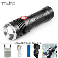 8000LM USB LED Tactical Flashlight CREE XM L2 Flashlight Aluminum Torch Flash Light Camping Lamp Bike