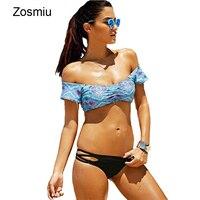 New Brazilian Off Shoulder Bikinis Sexy Women Floral Print Biquini Swimwear Summer Holiday Swimsuit Maillot De Bain Bathing Suit