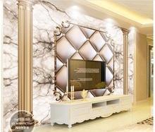 3D wallpaper custom 3d wall picture murals paper mural soft package golden Roman column stone TV background