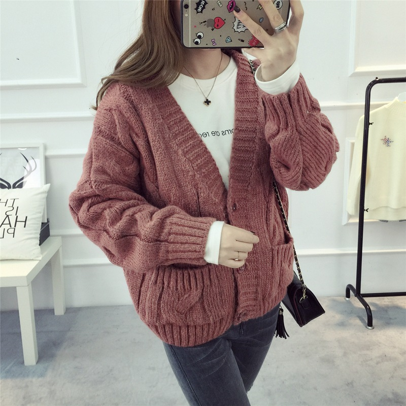 Cardigan Sweater Student Women 2017 New Autumn Loose Deep V-neck Long Sleeve Pocket Knitwear Jacket Woman Coat