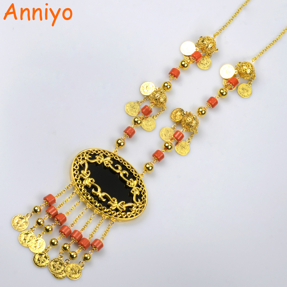 Anniyo 78CM Long Coin Necklace for Women Gold Color Turkey Classic Wedding/Banquet Jewelry Arab/Middle East Items #006401 anniyo wholesale coin bracelet for women arab chain middle eastern gift gold color coins jewelry middle eastern wedding 048006