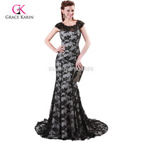 Free Shipping Grace Karin Full Length Formal Black Lace Long Evening Gown Wedding Celebrity Sexy Prom