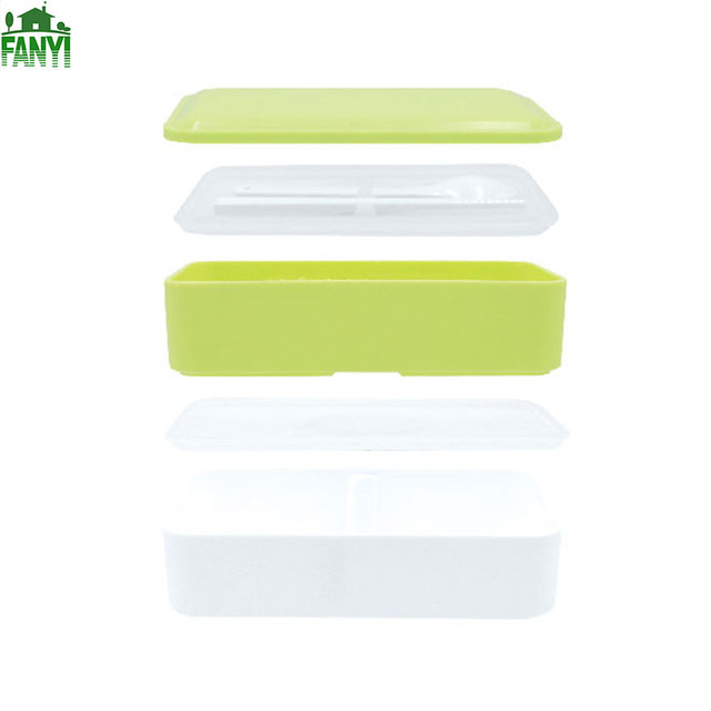FANYI 4 Colors Bilayer Lunch Boxes Creative Square Meal Box Sub-grid Bandage Boxes for free shipping