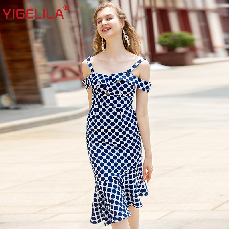 YIGELILA Fashion Women Dot Print Mermaid Dress Summer Spaghetti Strap Slash Neck Empire Slim Hollow Out
