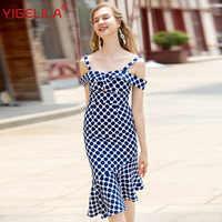 YIGELILA Fashion Women Dot Print Mermaid Dress Summer Spaghetti Strap Slash Neck Empire Slim Hollow Out Bodycon Mid Dress 63977