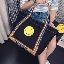 2017 cartoon big bag smiley umhängetasche kurze allgleiches frauen leinwand handtasche mehrfarben handtasche