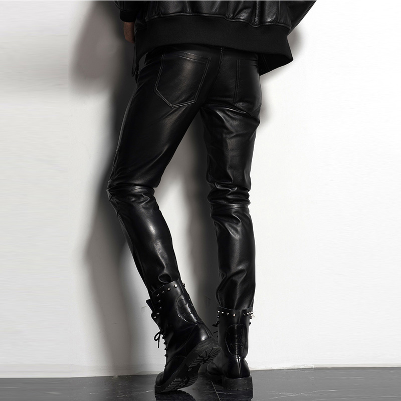Men's Leather Pant Slim Leather Skinny Biker Pants Motorcycle  Punk Rock Pants Tight Leather Pant Simple Soft TJ09