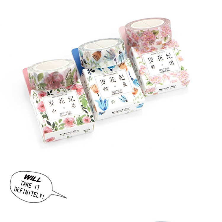 Romantic Floral Paper Washi Tape 15mm*7m Flowers Masking Tapes Decorative Stickers DIY Stationery School Supplies 6
